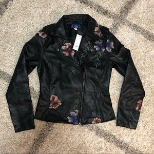 Francesca's NWT Embroidered Moto Jacket